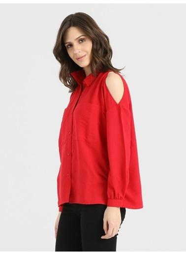 Loft Omuzları Açık Gömlek Kırmızı